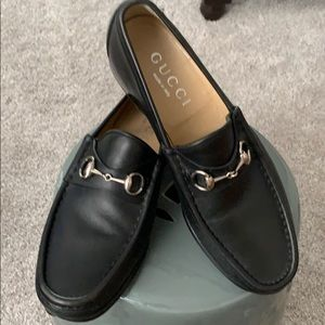 Black GUCCI size 10D slip on leather loafers
